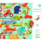 DJECO Magnesy pojazdy - magnetyczne zwierzątka w pojazdach na lodówkę, do tablicy, DJ03125