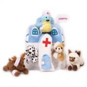 Plush Animal Hospital House with Animals - Five (5) Stuffed Injured Animals (Bear, Dalmatian, Cat, B