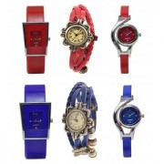 New Brand Blue Red Leather Analog Mini Hot Combo Watch For Girls Women.
