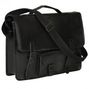 vidaXL Laptop Bag Real Leather Black