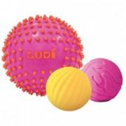 Set 3 mingi senzoriale cu tepi pentru dezvoltarea simturilor tactile si vizuale ale bebelusului Ludi Roz