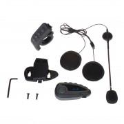 V8 1200m 5 coureurs casque de moto bluetooth stéréo intercom avec télécommande, soutien NFC et FM et fonction de répondeur automatique (noir)