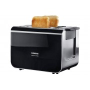 Siemens Toaster Sensor for Senses TT86103, 2 kurze Schlitze, für 2 Scheiben, 860 W, mit Quarzglasheizung, schwarz
