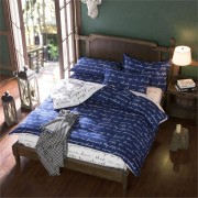 3 Or 4pcs Polyester Fiber Blue Letters Reactive Dyeing Bedding Sets Twin Full Queen Size