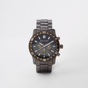 River Island Mens Grey gunmetal chain link watch (One Size)