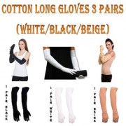 Cotton Hosiery Fashion Arm Long Full Gloves Sun Protection For Women ( 3 Pairs Black/White/Beige)