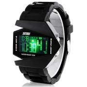 Sport Dial Black Metal Strap Quartz Digital 7 Lite Watch For Men