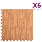 vidaXL Постелки за под 6 бр дървесни шарки 2,16 м² EVA пяна