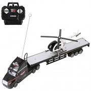 Ebigvalue 2.4Ghz Rc Black Semi Truck with Trailer Bed Toy and Helicopter, Big Rig Car (20 Long) Lights, Forward, Backward, Left, Right (4 Channel)