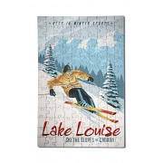 Lake Louise, Canada - Ski The Slopes - Downhill Snow Skier (12x18 Premium Acrylic Puzzle, 130 Pieces)