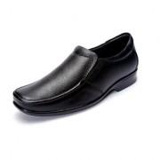 Shoebook Black Genuine Leather Formal Slip On Shoes