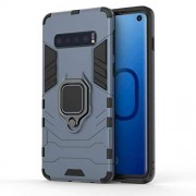 DINGGUANGHE-PHONE CASES Casos básicas del teléfono Funda protectora sólida a prueba de golpes PC + TPU for Samsung Galaxy S10, con soporte de anillo magnético Protección ultra delgada ( Color : Navy blue )