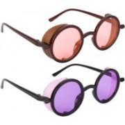 NuVew Round, Shield Sunglasses(Orange, Violet)
