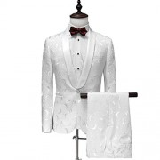 Men's 1 Button 2 Piece White Tuxedo Shawl Collar Skinny Dress