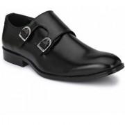 Hirel's Black Double Monk Cap Toe Premium Formal Shoes