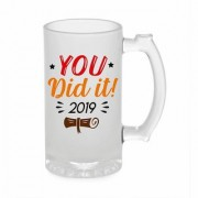 Crazy Sutra Funny and Cool Quote You Did It Printed Frosted Glass Beer Mug for Friends/Brother/Boyfriend (500ml)
