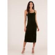 CheapChic Vote Velvet Open Back Slip Dress Olive