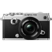 Aparat Foto Mirrorless Olympus PEN-F Pancake Zoom Kit, 20.3 MP, Filmare 4K (Argintiu) + Obiectiv EZ-M1442EZ