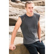 Sauvage Mesh Arm Bamboo Muscle Top T Shirt Charcoal