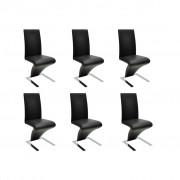 vidaXL Jídelní židle 6 ks umělá kůže, černá