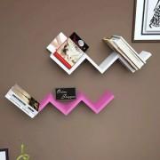 Onlineshoppee Handicraft W Shape Designer MDF Wall Shelf - Set Of 2 - Pink White