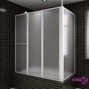 vidaXL Paravan za kade L oblik s 4 sklopivog panela 70 x 120 x 140 cm