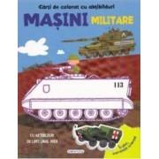 Carte de colorat cu abtibilduri - Masini militare
