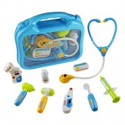 Jerryvon Doctors Set Medical Case Pretend Role Toys Doctor Nurse Kit Playset Gift for Kids Over 3 Years Old, Blue