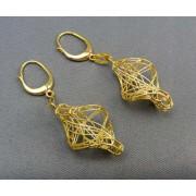 Zlaté náušnice visiace pokrížovane VA510