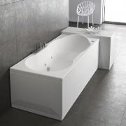 Vasca da bagno rettangolare 180x80 cm Romanza destra con pannelli bianco