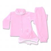 Costumas bebe din catifea roz