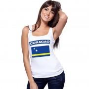 Shoppartners Singlet shirt/ tanktop Curacao vlag wit dames