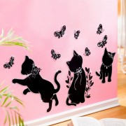 Decoratiune autocolanta Pisici si fluturi