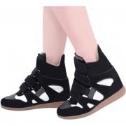 Alto Zapatos Dunk Mujer Cinta Mágica-Negro