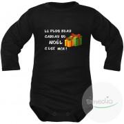 SiMEDIO Body bébé : le plus beau CADEAU DE NOËL c'est moi ! - Noir Longues 9-12 mois