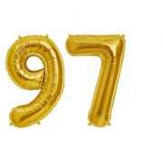 De-Ultimate Solid Golden Color 2 Digit Number (97) 3d Foil Balloon for Birthday Celebration Anniversary Parties