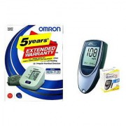 Omron HEM-7120 Blood Pressure Monitor with Dr. Morepen BG-03 Gluco One Glucometer 25 Strips Healthcare Combo