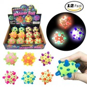 Set of 12 LED Light Up Bouncy Meteor Balls, Spiky Squeeze Balls - Flashing Rubber Bouncy Balls For Kids (Party Favor)