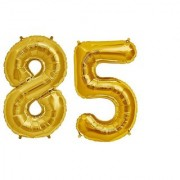 Stylewell Solid Golden Color 2 Digit Number (85) 3d Foil Balloon for Birthday Celebration Anniversary Parties