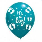 Balon latex it's a boy imprimat global turcoaz 30cm