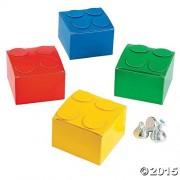 Fun Express Building Brick Theme Party Favor Boxes- 1 Dozen