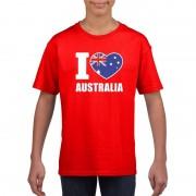 Bellatio Decorations I love Australie supporter shirt rood jongens en meisjes L (146-152) - Feestshirts