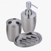 Set accessori bagno dispenser/portasapone liquido/porta saponetta/porta spazzolini in acciaio inox