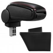 [pro.tec]® Lakťová opierka pre Opel Meriva A - lakťová opierka - s odkladacím priestorom - koženka - čierna, červené prešitie