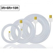 UNISAME 3Pcs/Pack [3Ft/6Ft/10Ft] Premium Braided Aluminum Gold Plated Micro USB Charging Sync Data Cable Charger Cord for Galaxy S7 S6 Edge S5 S4 Note 4 5 Tab S Moto G X HTC and more Android Devices