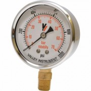 Valley Instrument Grade A Stem Mount 2 1/2Inch Glycerin Filled Gauge - 0-1,000 PSI
