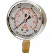 Valley Instrument Grade A Stem Mount 2 1/2 Inch Glycerin Filled Gauge - 0-1,000 PSI, Black