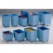 Certeo Großbehälter aus GfK, fahrbar, blau/weiß - Inhalt 43 l - mit Scharnierdeckel