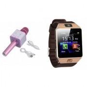 Zemini DZ09 Smartwatch and Q7 Microphone Karrokke and Bluetooth Speaker for LG OPTIMUS L5 II DUAL(DZ09 Smart Watch With 4G Sim Card Memory Card| Q7 Microphone Karrokke and Bluetooth Speaker)