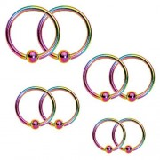 BodyJ4You (Rainbow) Captive Bead Piercing Ring Kit 16G Stainless Steel Nose Tragus Lip Nipple Belly Rings 8PC